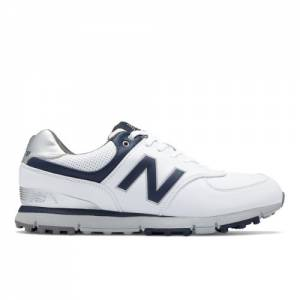 New Balance Golf Leather 574 Men's Golf Shoes - White / Navy (NBG574WN)