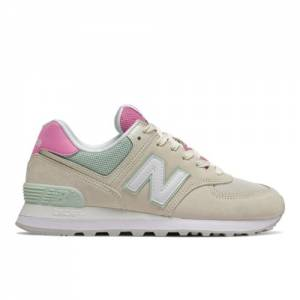 New Balance 574 Women's Lifestyle Shoes - Off White / Pink (WL574SAO)