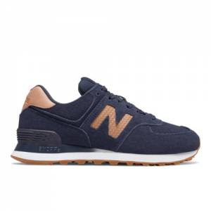 New Balance 574 Woven Logo Women's Lifestyle Shoes - Navy (WL574WLP)