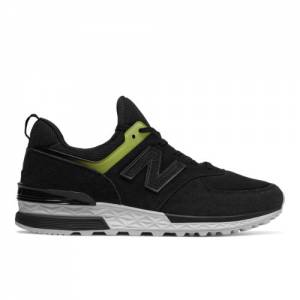 New Balance Suede 574 Sport Women's Sport Style Sneakers Shoes - Black (WS574RD)
