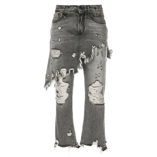 R13 Denim Double Classic Distressed Skirt Cropped Jeans