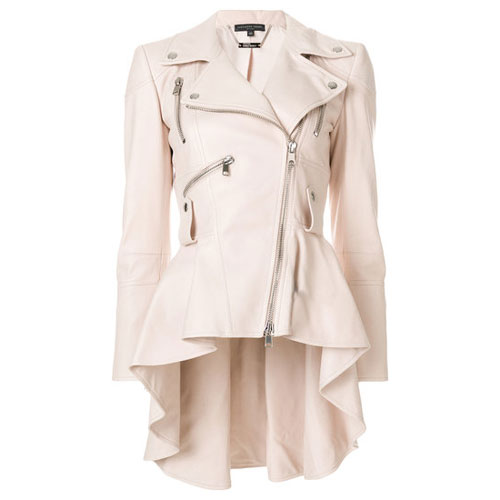 Alexander McQueen White Leather Biker Jacket