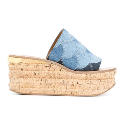 Chloé Camille Wedges Denim Sandals