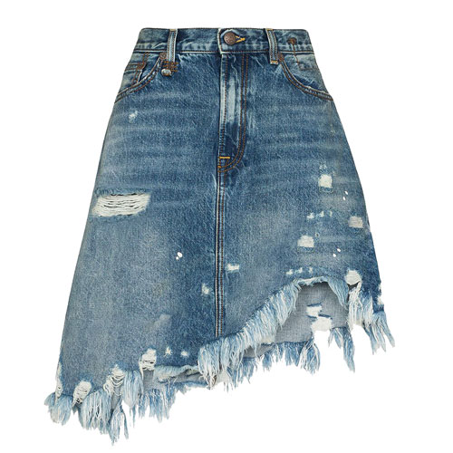 "R13 Denim Mini Skirt ""Asymmetrical"""