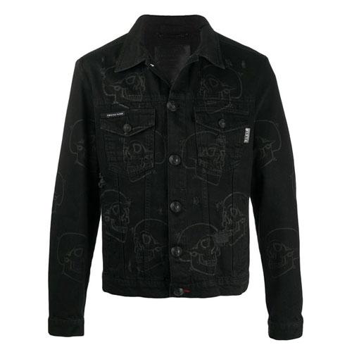 "Philipp Plein Men's Denim Jacket ""Skulls"""