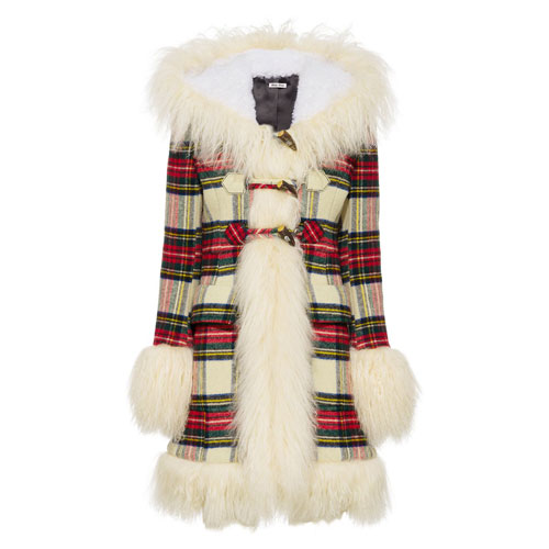 "Miu Miu Shearling Coat ""Check"""