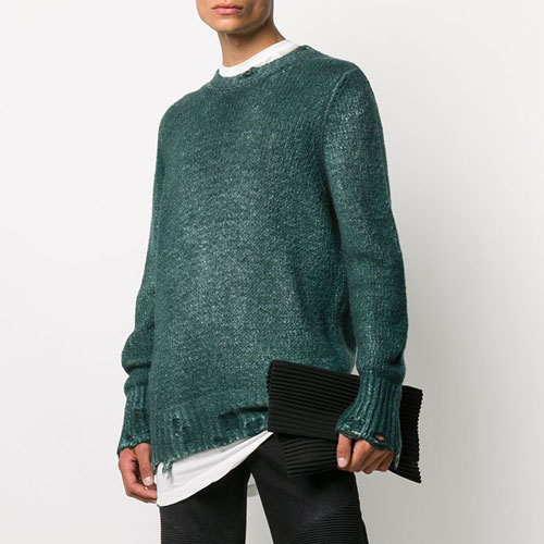 "Avant Toi Men's Sweater ""Distressed Knit Jumper"""
