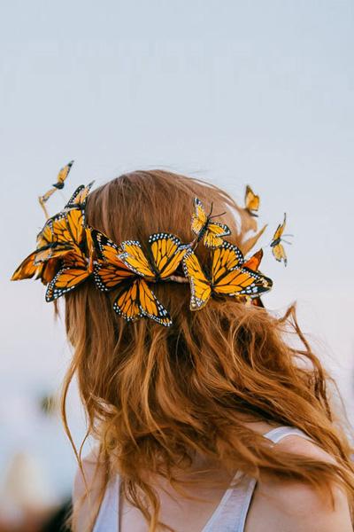 "Wild & Free Jewelry Butterflies Crown Set ""Boho"" Hairstyle"